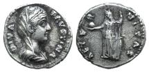 Ancient Coins - Diva Faustina Senior (died 140/1). AR Denarius. R/ FORTUNA