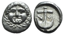 Ancient Coins - THRACE, Apollonia Pontika. Late 5th-4th centuries BC. AR Drachm. Facing head of Medusa