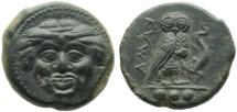 Sicily, Kamarina  AE Tetras, c. 420-405 BC Gorgoneion / Owl