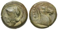 Ancient Coins - ROME REPUBLIC Anonymous, Rome, c. 260 BC. Æ 17mm. Head of Minerva. R/ Head of bridled horse