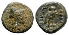Ancient Coins - Bruttium, Vibo Valentia, after 193 BC. Æ Triens - R/ Owl - RARE