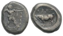 Ancient Coins - ITALY. Northern Lucania, Poseidonia, c. 445-420 BC. AR Stater. Poseidon / Bull