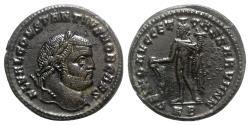 Ancient Coins - Constantius I (Caesar, 293-305). Æ Follis - Cyzicus - R/ Genius