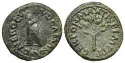 Ancient Coins - Nero (54-68). Æ Quadrans. Rome, AD 65.   Helmet on column R/ Branch