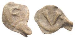 Ancient Coins - Roman PB Tessera, c. 1st century BC - 1st century AD. Large F. R/ Large V