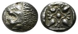 Ancient Coins - IONIA, Miletos. Late 6th-early 5th century BC. AR Diobol or Obol Lightly toned. Well centered.