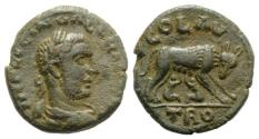 Ancient Coins - Gallienus (253-268). Troas, Alexandria. Æ 20mm. R/ She-wolf and Twins