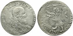 World Coins - Italy, Papal State. Bologna, Pope Pio V (1566-1572). AR Bianco. R/ LION