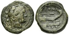 Ancient Coins - ROME REPUBLIC Anonymous, Central Italy, 211-208 BC. Æ Quadrans VERY RARE