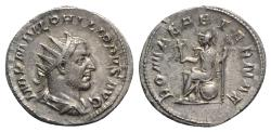 Ancient Coins - Philip I (244-249). AR Antoninianus. Rome, 246-7. R/ Roma seated