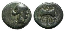 Ancient Coins - Lydia, Thyateira, c. 3rd-2nd century BC. Æ - Artemis / Bipennis