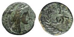 Ancient Coins - Nabataea, Aretas IV (9 BC-AD 40). Æ 15mm. Petra, AD 1-2. R/ Legend within wreath.