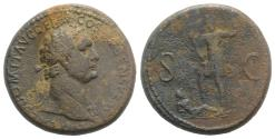 Ancient Coins - Domitian. AD 81-96. Æ Sestertius. Rome mint. Struck AD 87 R/ Domitian and river-god Rhenus