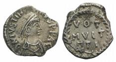 Ancient Coins - Justinian I. 527-565. AR Siliqua (?). Carthage mint. Struck 534-537.