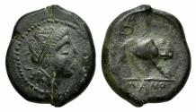 Ancient Coins - ROME REPUBLIC Anonymous. Circa 260 BC. Æ Double Litra. Mint in southern Italy. R/ LION