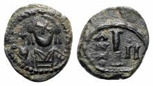 Ancient Coins - Maurice Tiberius (582-602). Æ 10 Nummi. Catania, year 2 (583/4). INTERESTING Overstruck