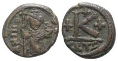 Ancient Coins - Constans II (641-668). Æ 20 Nummi. Carthage, 641-643. Constans standing facing