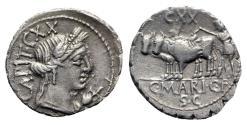 Ancient Coins - C. Marius C.f. Capito, Rome, 81 BC. AR Serrate Denarius