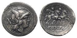 Ancient Coins - ROME REPUBLIC Anonymous, Rome, after 211 BC. AR Denarius  LARGE FLAN
