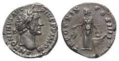 Ancient Coins - Antoninus Pius (138-161). AR Denarius - R/ Annona