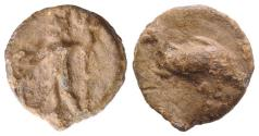 Ancient Coins - Roman PB Tessera, c. 1st century BC - 1st century AD. Neptune, holding dolphin and trident. R/ Dolphin
