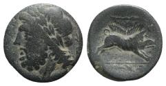 Ancient Coins - ITALY. Northern Apulia, Arpi, 3rd century BC. Æ (20.5mm R/ BOAR