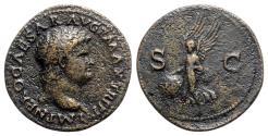 Ancient Coins - Nero (54-68). Æ As - Lugdunum - R/ Victory