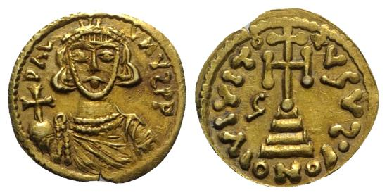 Ancient Coins - Lombards, Beneventum (Benevento). Gregory (732-739). GOLD Solidus. In the name of Justinian II (685-695, 705-711). RARE