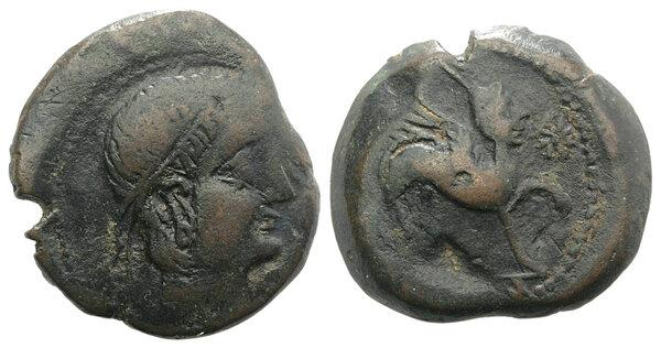 Ancient Coins - Spain, Castulo, late 2nd century BC. Æ As  R/ Helmeted Sphinx