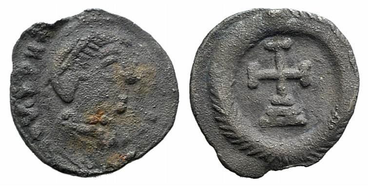 Ancient Coins - Maurice Tiberius (582-602). AR Quarter Siliqua. Ravenna mint EXTREMELY RARE