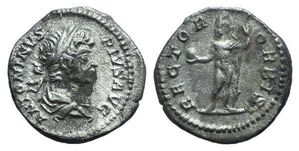 Ancient Coins - Caracalla (198-217). AR Denarius. Rome, 201. R/ Caracalla (as Sol) standing facing