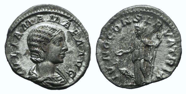 Ancient Coins - Julia Mamaea (Augusta, 222-235). AR Denarius. Rome, 222. R/ Juno
