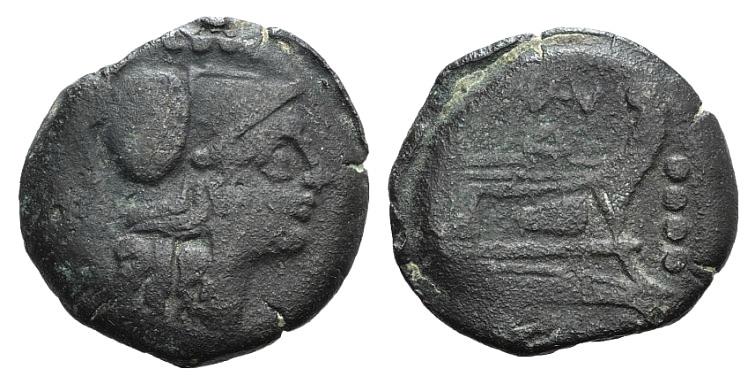 Ancient Coins - Rome Republic BAL series, Rome, 169-158 BC. AE Triens RARE