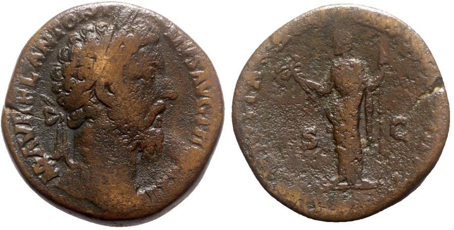 Ancient Coins - Marcus Aurelius (161-180). Æ Sestertius - Rome - R/ Felicitas