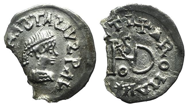 World Coins - Gepids, Uncertain king, 454-552. AR 1/4 Siliqua. Sirmium. R/ Monogram of Theodoric