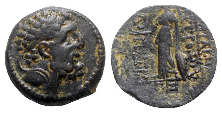 Ancient Coins - Seleukid Kings, Antiochos IX (114/3-95 BC). Æ - Herakles / Athena