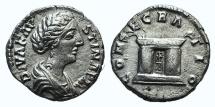 Ancient Coins - Diva Faustina Junior (died 175). AR Denarius. R/ Altar