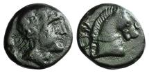 Ancient Coins - Skythia, Tyra, c. 310-300 BC. Æ 16mm. Head of Tyras. R/ Head of horse