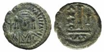 Ancient Coins - Maurice Tiberius (582-602). Æ 10 Nummi. Catania, year 1 (582/3)