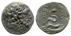 Ancient Coins - Mysia, Pergamon, c. 133-27 BC. Æ - Asklepios / Serpent
