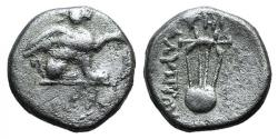 Ancient Coins - Ionia, Teos, c. 320-294 BC. AR Diobol. Alypion, magistrate. Griffin  R/ Chelys (lyre)