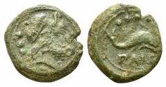 Ancient Coins - ITALY. LUCANIA, Paestum (Poseidonia). Second Punic War. 218-201 BC. Æ Quadrans  R/ DOLPHIN