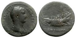 Ancient Coins - Hadrian (117-138). Æ As - Rome - R/ Galley