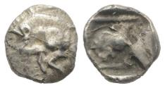 Ancient Coins - Mysia, Kyzikos, c. 525-475 BC. AR Tetartemorion. Forepart of boar. R/ Head of lion