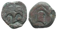 Ancient Coins - Sicily, Carthaginian Domain, c. 4th-3rd century BC. Æ 19mm. Palm tree with two dates R/ Horse head