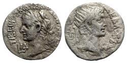 Ancient Coins - Tiberius with Divus Augustus (14-37). Egypt, Alexandria. AR Tetradrachm - year 14