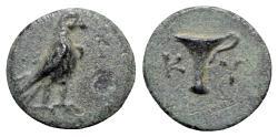 Ancient Coins - Aeolis, Kyme, c. 350-320 BC. Æ - Eagle / Vase