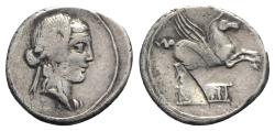 Ancient Coins - ROME REPUBLIC Q. Titius, Rome, 90 BC. AR Denarius. Head of young Bacchus R/ Pegasus