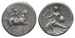 Ancient Coins - ITALY, Southern Apulia, Tarentum, c. 280-272 BC. AR Nomos