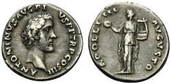 Ancient Coins - Antoninus Pius (138-161). AR Denarius. Rome, c. 141-3. R/ APOLLO